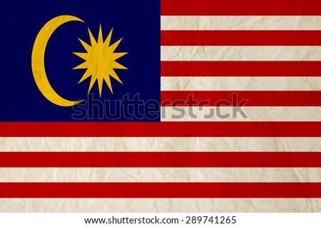 Flag of Malaysia with vintage old paper - stock photo