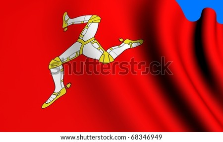 Flag of Man against blue background. Close up.