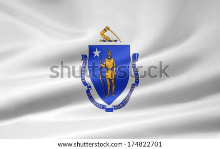 Flag of Massachusetts - stock photo