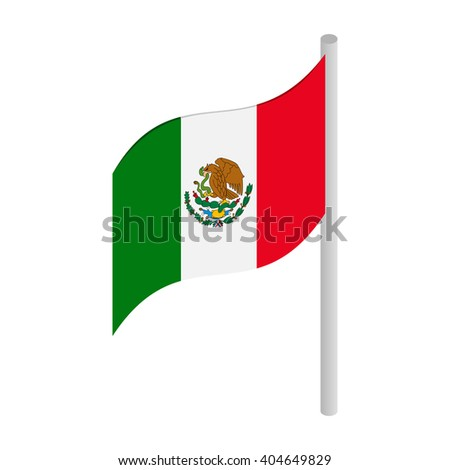 Flag of Mexico icon, isometric 3d style - stock photo