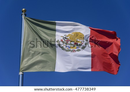 Flag of Mexico on a blue background