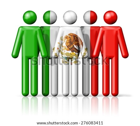 Flag of Mexico on stick figure - national and social community symbol 3D icon - stock photo