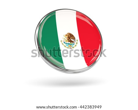 Flag of mexico. Round icon with metal frame, 3D illustration - stock photo