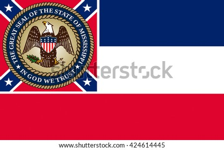 Flag of Mississippi is a state located in the southern region of the United States - stock photo