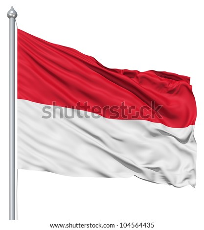 Flag of Monaco with flagpole waving in the wind against white background