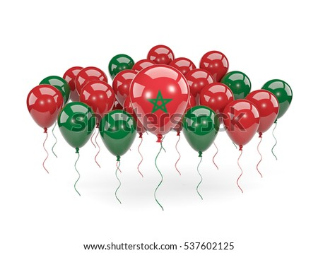 Flag of morocco, with balloons isolated on white. 3D illustration