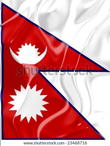 Flag of Nepal, national country symbol illustration - stock photo