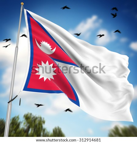 Flag of Nepal , This is a computer generated and 3d rendered image. - stock photo