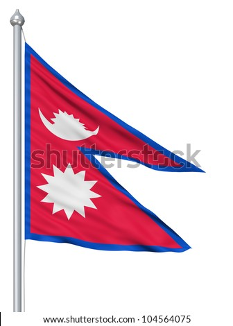 Flag of Nepal with flagpole waving in the wind against white background - stock photo