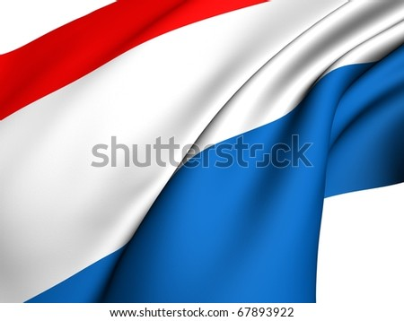 Flag of Netherlands against white background.