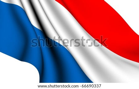 Flag of Netherlands against white background. Close up.