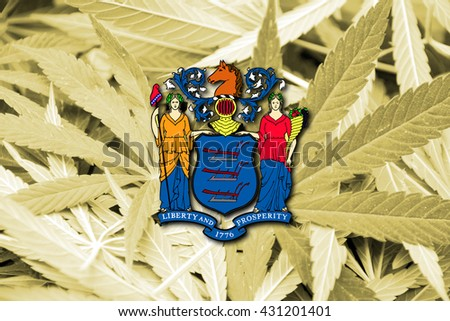 Flag of New Jersey State, on cannabis background. Drug policy. Legalization of marijuana - stock photo