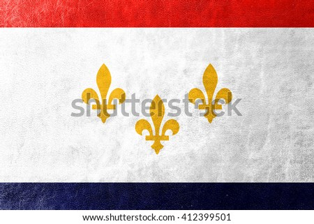 Flag of New Orleans, Louisiana, painted on leather texture - stock photo