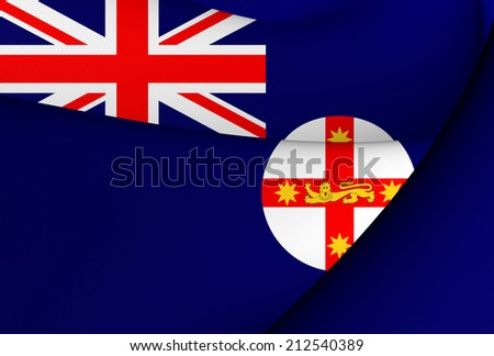 Flag of New South Wales, Australia. Close Up. - stock photo