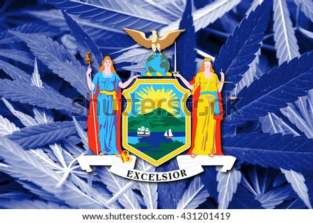 Flag of New York State, on cannabis background. Drug policy. Legalization of marijuana - stock photo