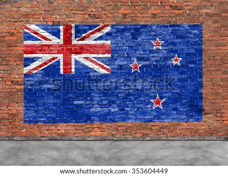 Flag of New Zeland painted on brick wall and part of foreground - stock photo