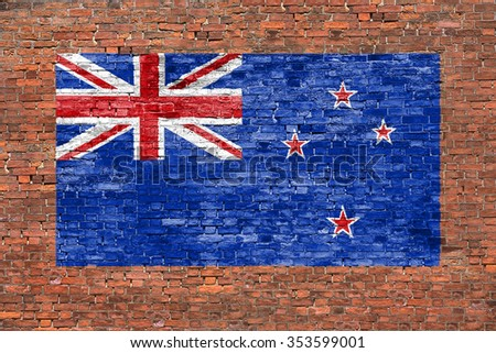 Flag of New Zeland painted on old brick wall