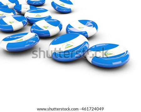 Flag of nicaragua, round buttons on white. 3D illustration