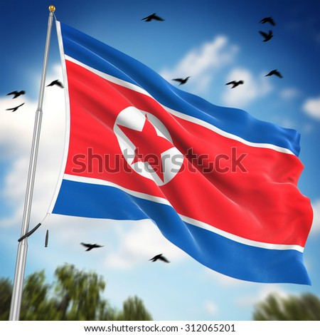 Flag of North Korea , This is a computer generated and 3d rendered image.