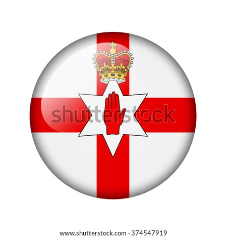 Flag of Northern Ireland. Round glossy icon. Isolated on white background.