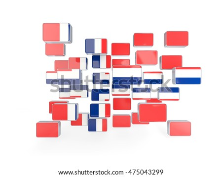 Flag of norway, mosaic background. 3D illustration
