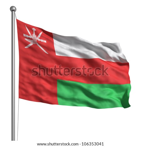 Flag of Oman. Rendered with fabric texture (visible at 100%). Clipping path included.