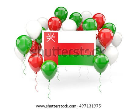 Flag of oman, with balloons isolated on white. 3D illustration