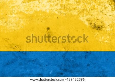 Flag of Opole Voivodeship, Poland, with a vintage and old look - stock photo