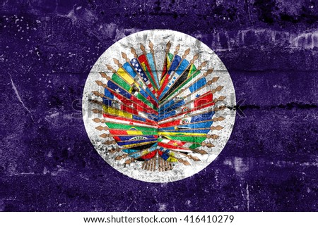 Flag of  Organization of American States, painted on dirty wall. Vintage and old look. - stock photo