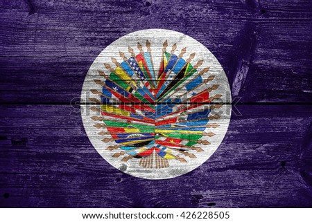 Flag of  Organization of American States, painted on old wood plank background - stock photo
