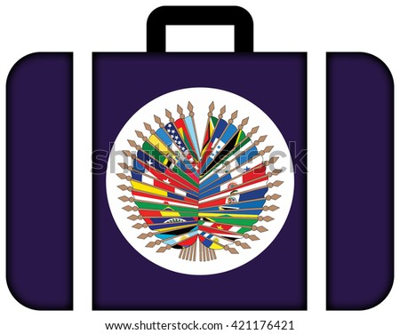 Flag of  Organization of American States. Suitcase icon, travel and transportation concept - stock photo