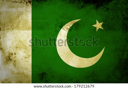 Flag of Pakistan painted on vintage paper - stock photo