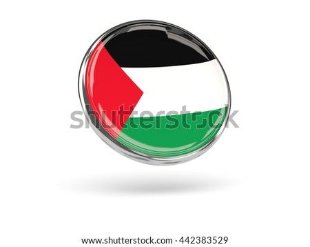 Flag of palestinian territory. Round icon with metal frame, 3D illustration - stock photo