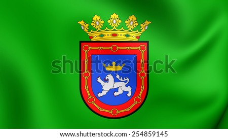 Flag of Pamplona, Spain. Close Up. - stock photo