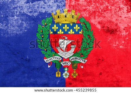Flag of Paris with Coat of Arms, France, with a vintage and old look - stock photo