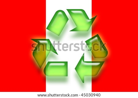 Flag of Peru, national country symbol illustration eco recycling - stock photo
