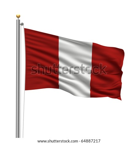 Flag of Peru with flag pole waving in the wind over white background - stock photo