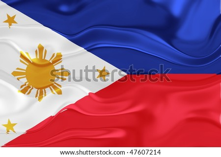 Flag of Philippines, national country symbol illustration wavy