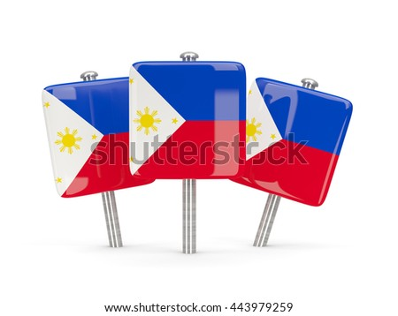 Flag of philippines, three square pins. 3D illustration