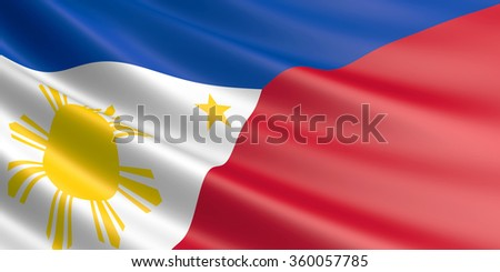 Flag of Philippines waving in the wind.