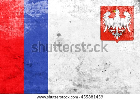 Flag of Piotrkow Trybunalski, Poland, with a vintage and old look - stock photo