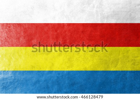 Flag of Podlaskie Voivodeship, Poland, painted on leather texture
