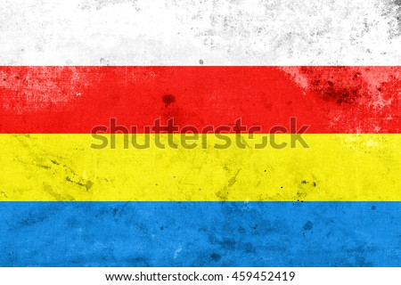 Flag of Podlaskie Voivodeship, Poland, with a vintage and old look - stock photo
