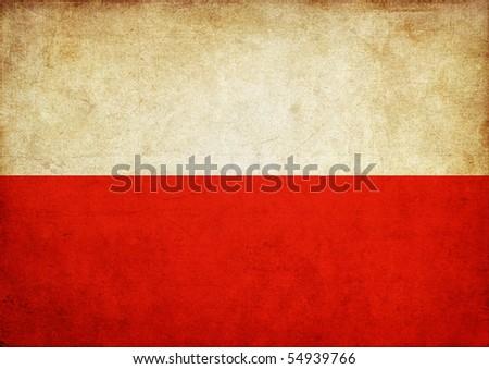 Flag Of Poland, fabric textured - stock photo