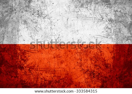 flag of Poland or Polish banner on rough pattern metal background - stock photo