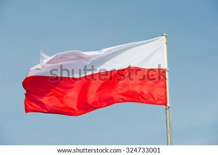 Flag of Poland - Polish flag - stock photo
