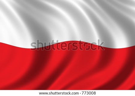 Flag of Poland waing in the wind - stock photo
