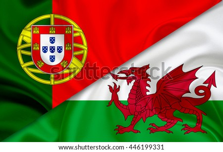 Flag of Portugal and flag of Wales - stock photo