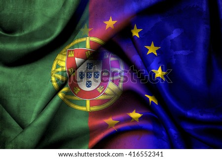 Flag of Portugal and the European Union - stock photo