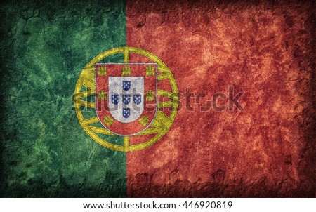 Flag of Portugal painted onto a rough wall